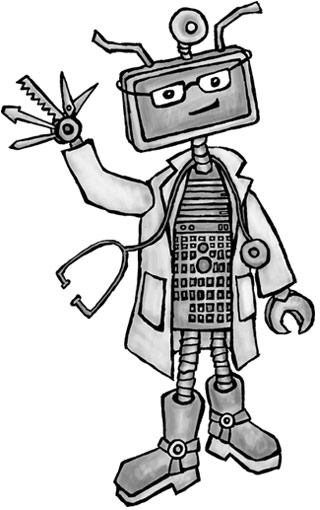 Graphic of computer repair technician